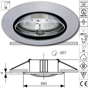 Spot encastrable orientable alu 12v gu4 chrome mat - Spot encastrable orientable ...