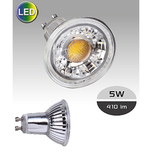 Lampe LED GU10 ARIC GLASS 5W rendu 50W 36° Blanc Neutre.