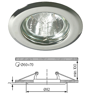 Spot encastrable fixe rond Chrome Brillant pour LED.