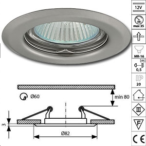 Spot encastrable 12v GU5,3 Chrome mat (Option 230V)