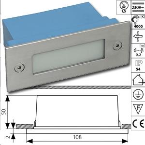 led luminaire 230v non amovible incorporer 12 led blanc chaud. Black Bedroom Furniture Sets. Home Design Ideas