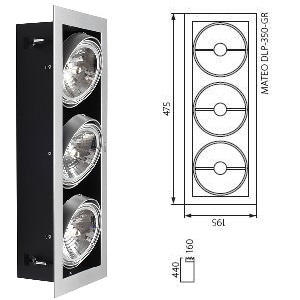 Downlight AR111 3 Spots Orientables.