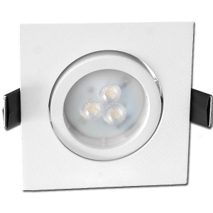 Spot Led GU10 Encastrable Blanc mat Carré Led Osram 4.6W rendu 50W 36° 3000K
