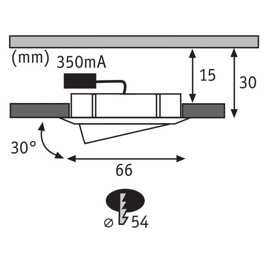 spot led extra plat encastrable orientable 4 2w acier paulmann 92090. Black Bedroom Furniture Sets. Home Design Ideas