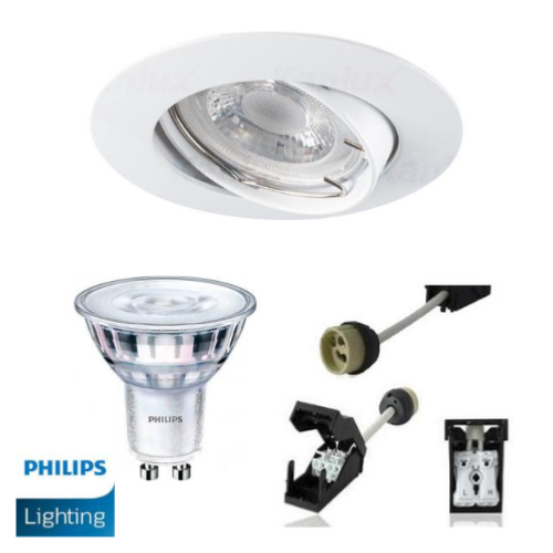 Spot Led GU10 Encastrable Blanc équipé LED Philips 5W dimmable 4000K