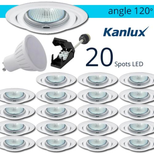 Lot 20 Spots LED encastrables Blanc 7W rendu 50W Blanc chaud Angle 120°
