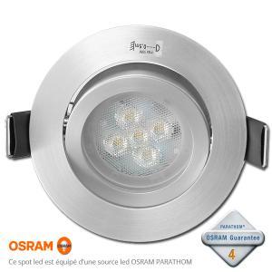 Spot led encastrable gu10 dimmable osram acier 4 6w rendu for Spot encastrable cuisine led