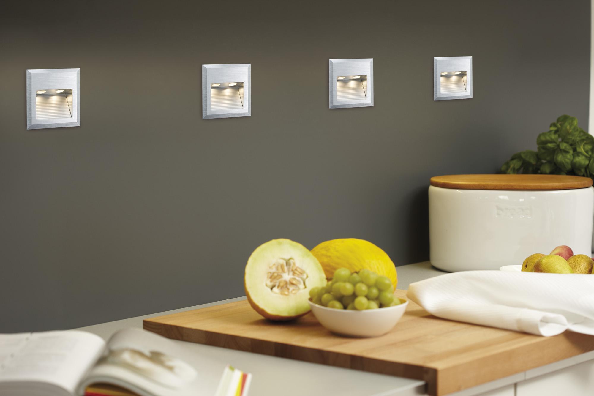 kit spot encastrable mural line wall led quadro 1x2w 230v alu bross paulmann. Black Bedroom Furniture Sets. Home Design Ideas