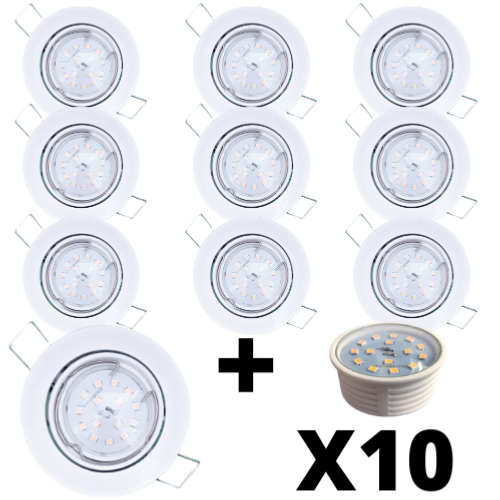 Lot 10 Spots Led encastrables extra plats blancs équipés LED 5W 2700K