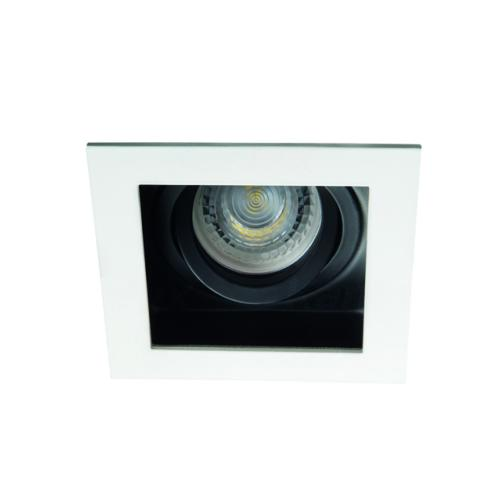 Spot encastrable downlight orientable carré finition blanc et noir 26720