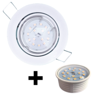 Spot Led encastrable extra plat blanc équipé LED 5W 2700K