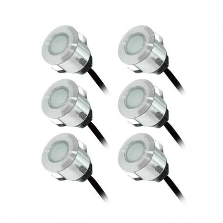 Kit 6 mini spots encastrables terrasse 0.6W 12V éclairage rouge