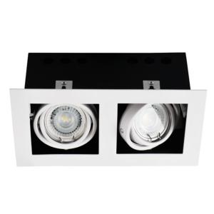 Spot encastrable double downlight orientable carré blanc 26481
