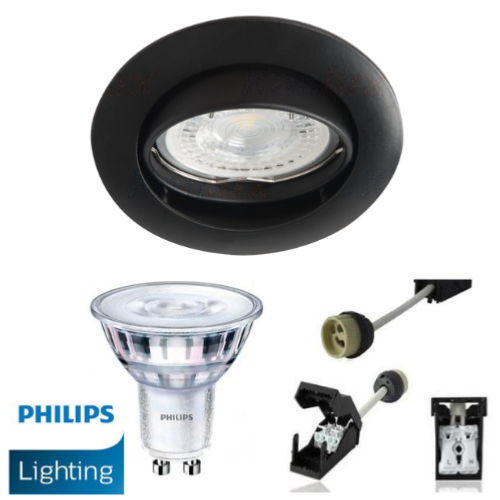 Spot Led GU10 Encastrable Noir équipé LED Philips 5W dimmable 4000K