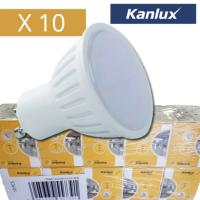 Lot de 10 Ampoules LED GU10 7W rendu 50W 120° Blanc chaud KANLUX.