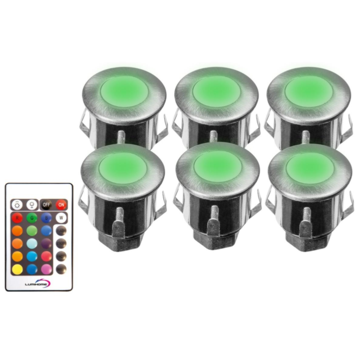 Spot terrasse piscine rgb 12v led ip67 kit de 6 spot led rgb for Spot led encastrable exterieur terrasse