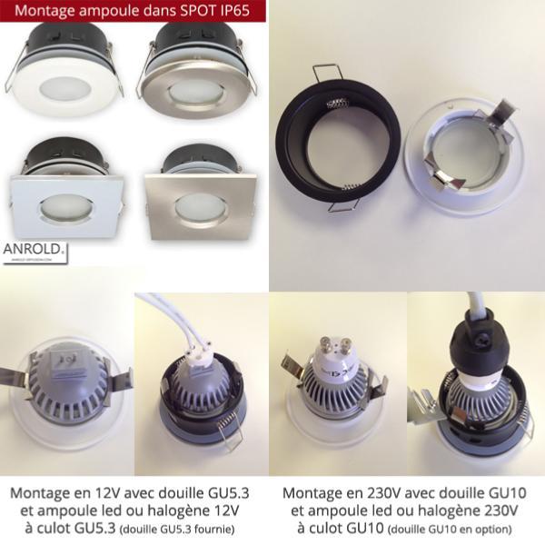 spot tanche ip44 salle de bain blanc pour led. Black Bedroom Furniture Sets. Home Design Ideas