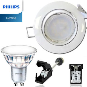 spot led gu10 orientable blanc led philips 4 6w rendu 50w 2700k new. Black Bedroom Furniture Sets. Home Design Ideas