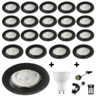 Lot de 20 spots Led GU10 encastrables noirs Led 7W rendu 50W 120° blanc chaud