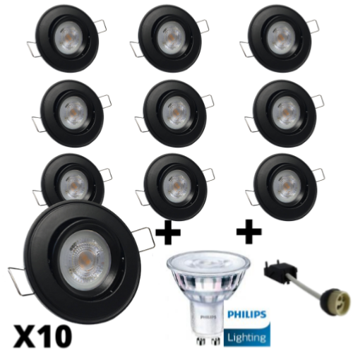 Lot 10 Spots Led GU10 design Noirs équipés LED Philips 5W dimmables 2700K