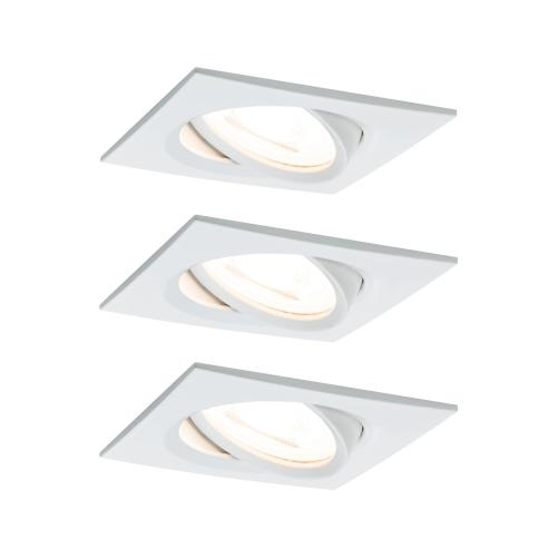 Lot 3 Spots LED encastrables Nova LED Coin 6.5W 230V blanc carré PAULMANN 93454