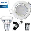 Spot Led GU10 Orientable Blanc avec Led PHILIPS 4.6W rendu 50W 2700K