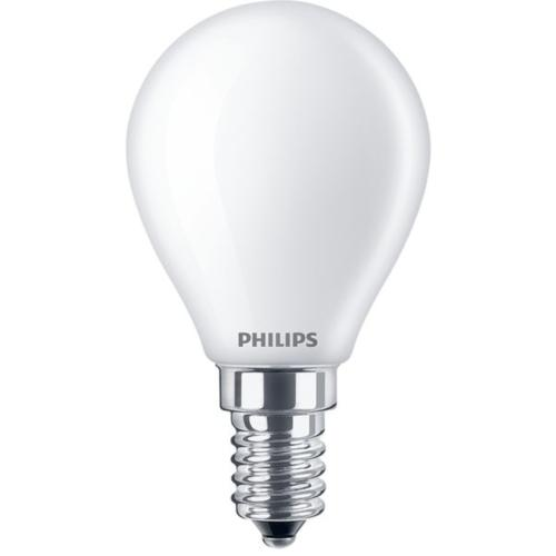 Ampoule LED Philips E14 2.2W rendu 25W Globe 45 mm Blanc Chaud.