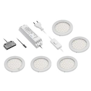 Kit 5 Spots led extra plats saillie 5 x 2.8W 12V DC Aluminium Blanc chaud IP20