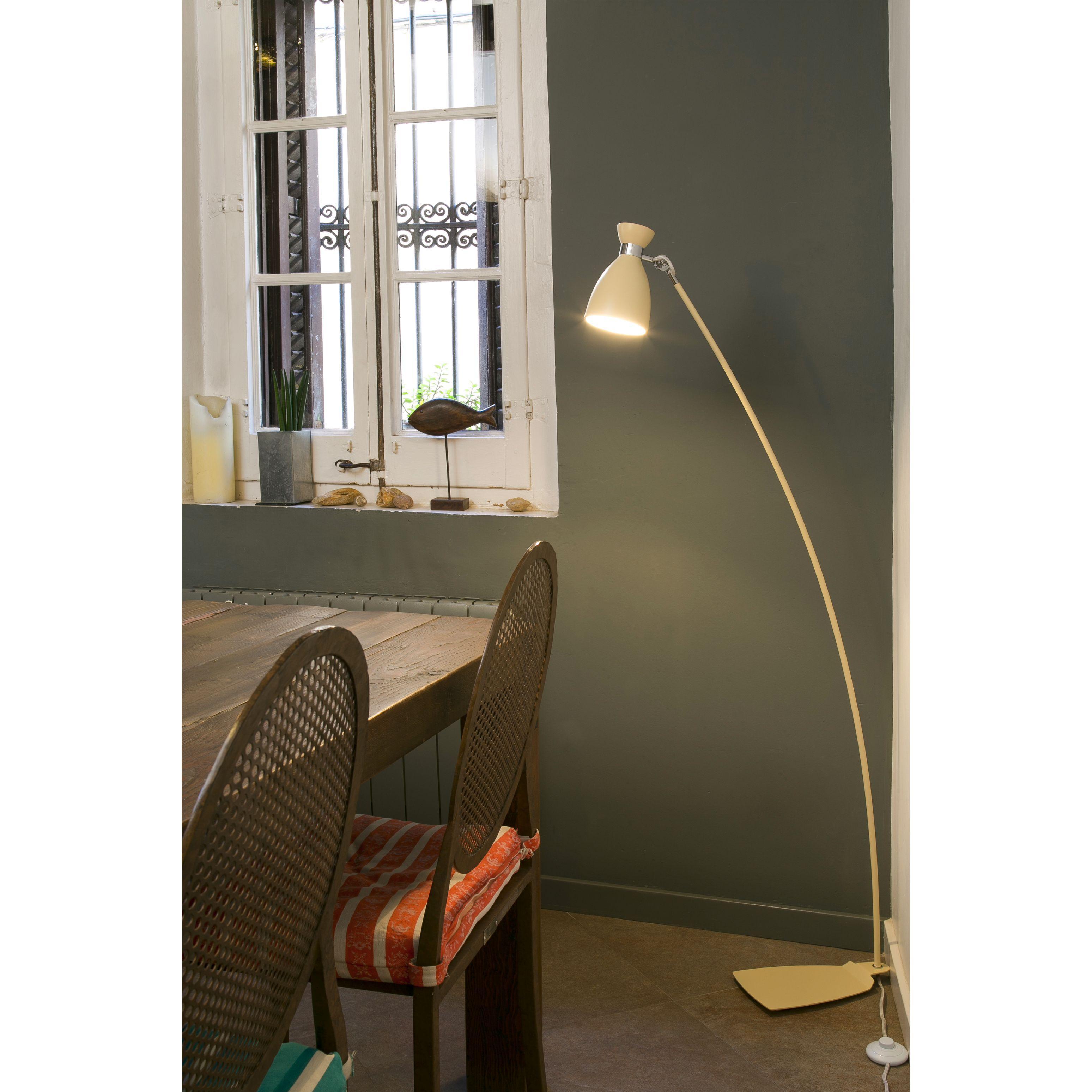 Lampadaire design int rieur retro faro beige - Lampadaire interieur design ...