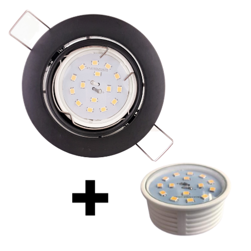 Spot Led encastrable extra plat dimmable noir mat équipé LED 5W 2700K