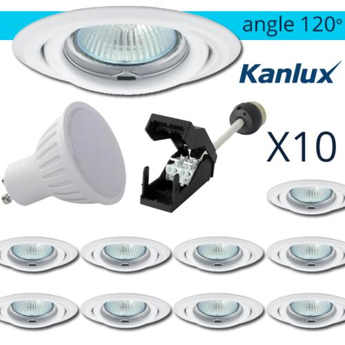 Lot 10 Spots LED encastrables Blanc 7W rendu 50W Blanc chaud Angle 120°