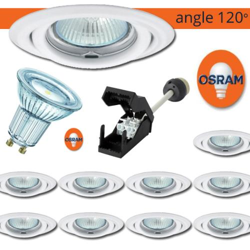 Lot 10 Spots LED encastrables Blanc led OSRAM 4.3W rendu 50W Blanc chaud 120°