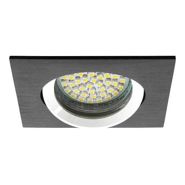spot encastrable pour led orientable noir cercl acier bross carr. Black Bedroom Furniture Sets. Home Design Ideas