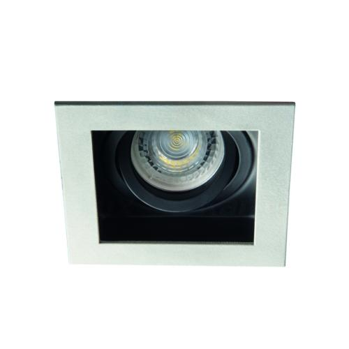 Spot encastrable downlight orientable carré finition alu et noir 26721