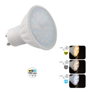 Ampoule led TRIColor 5W GU10 Blanc Chaud - Neutre - Froid.