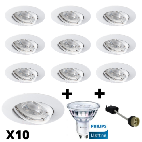 Lot 10 Spots Led GU10 Encastrables Blancs équipés LED Philips 5W dimmables 2700K