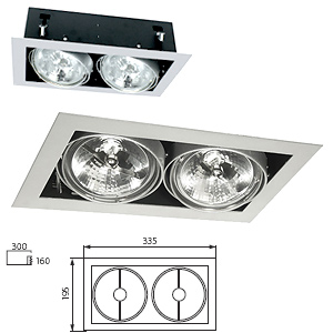 Downlight AR111 2 Spots Orientables