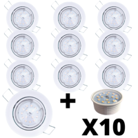 Lot 10 Spots Led encastrables extra plats blancs équipés LED 5W 4000K