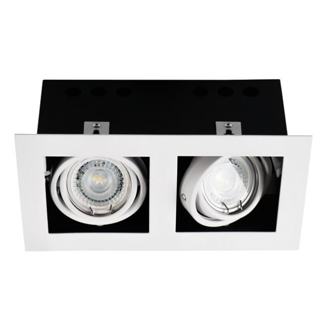 spot encastrable double downlight orientable carr blanc 26481. Black Bedroom Furniture Sets. Home Design Ideas
