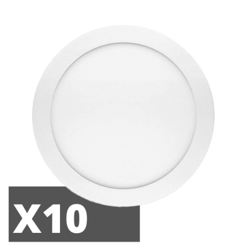 Lot de 10 Dalles LED 18W extra-plate Ronde Downlight à encastrer 4000K