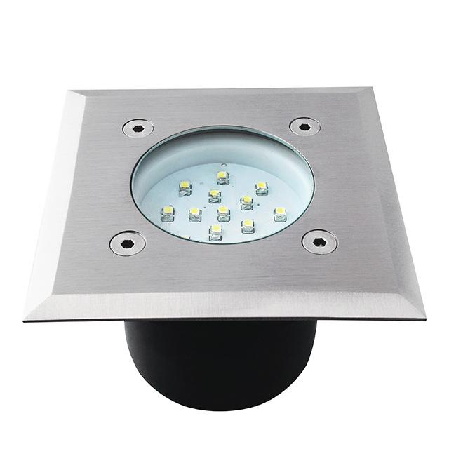 Spot encastrable carr led ext rieur 230v acier bross ip66 for Spot led bleu exterieur